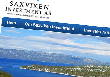 Webbdesign för Saxviken Investment